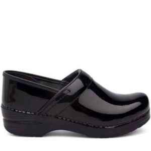 Dansko Black Patent Leather Clogs, 37